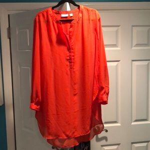 Mint New York & co orange sheer tunic size xl
